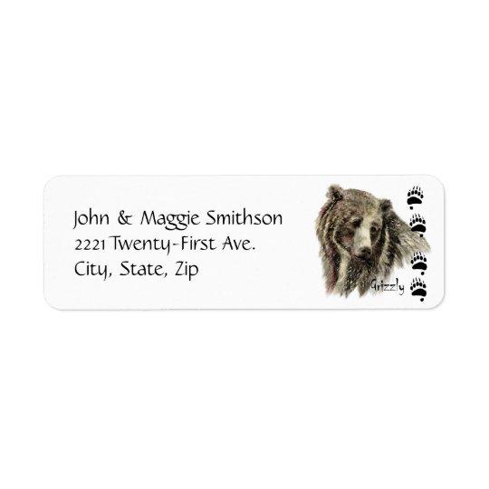 Aquarell-Grizzlybär-Tier-Natur-Kunst Kleiner Adressaufkleber