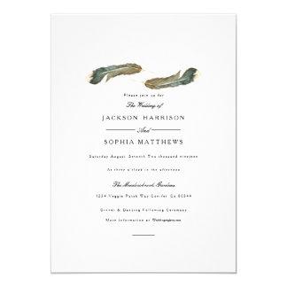 Aquarell-Hochzeit des Feder-Duo-  laden ein Karte