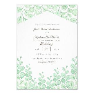 Aquarell-Hochzeits-Einladung der Garten-Rebe-| 12,7 X 17,8 Cm Einladungskarte