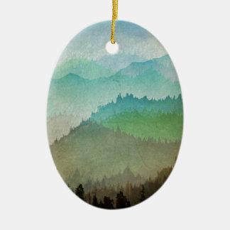 Aquarell-Hügel Ovales Keramik Ornament