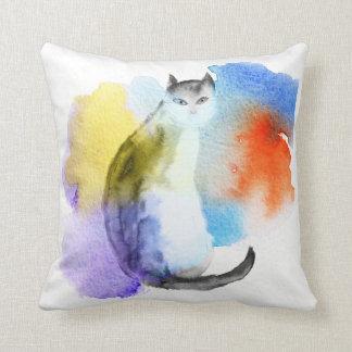 Aquarell-Katze Kissen
