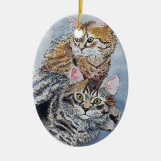 Aquarell-Katzen-Stillstehen Ovales Keramik Ornament