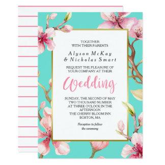 Aquarell-Kirschblüten-Frühlings-Hochzeit Karte