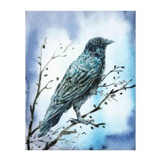 Aquarell-Krähe auf Baumniederlassung Leinwanddruck