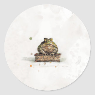 Aquarell-Kröte Runder Aufkleber