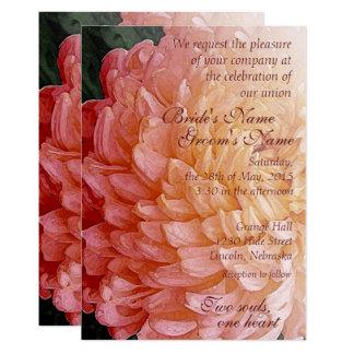 Aquarell-laden rosa Chrysantheme-Hochzeit 2 ein 12,7 X 17,8 Cm Einladungskarte