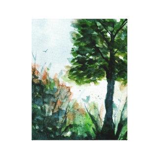 Aquarell-Landschaftskunst-Baum-Natur-Jahreszeiten Leinwanddruck