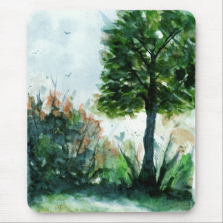 Aquarell-Landschaftskunst-Natur-Sommer-Baum Mousepad