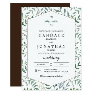 Aquarell-Laub-Grün-Hochzeit 12,7 X 17,8 Cm Einladungskarte