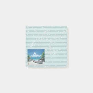 Aquarell-Malerei-Post-Itanmerkungs-Okinawa-Ufer Post-it Klebezettel