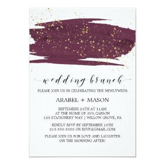 Aquarell Marsala und Goldschein-Hochzeits-Brunch Karte