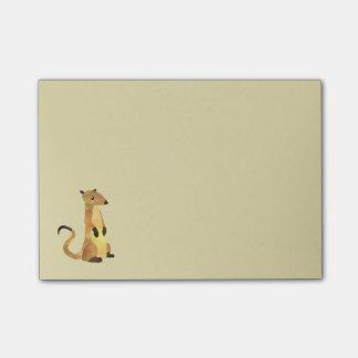 Aquarell Meerkat auf einem TAN-Hintergrund Post-it Klebezettel