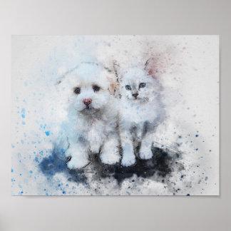 Aquarell-Mischungs-Medien Kätzchen u. Poster