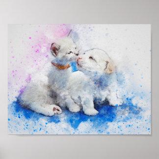 Aquarell-Mischungs-Medien Kätzchen u. Welpen-Küsse Poster
