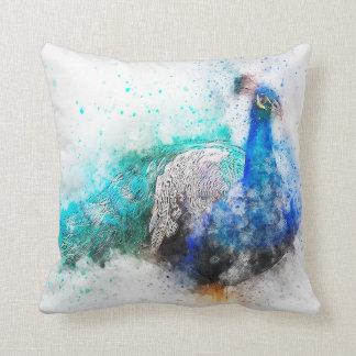 Aquarell-Mischungs-Medien Peacock1 Kissen