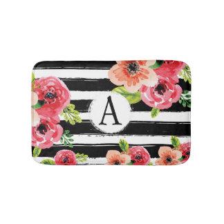 Aquarell mit Blumen mit Streifen und Monogramm Badematte