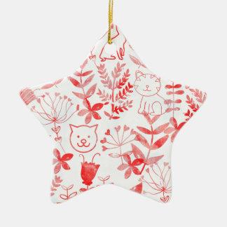 Aquarell mit Blumen u. Katzen Keramik Stern-Ornament