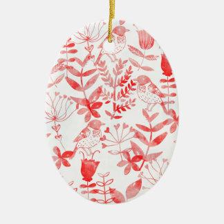 Aquarell mit Blumen u. Vögel Ovales Keramik Ornament
