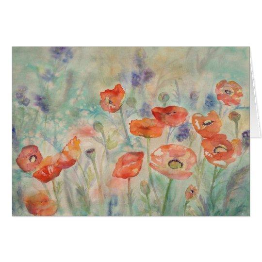 Aquarell-Mohnblumen auf einem Gebiet Mitteilungskarte