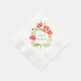 Aquarell-Mohnblumen-Kranz-Servietten Papierservietten