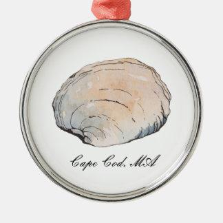 Aquarell-Muschelseashell-Strand-Verzierung Silbernes Ornament