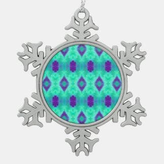 Aquarell-Muster IIII Schneeflocken Zinn-Ornament