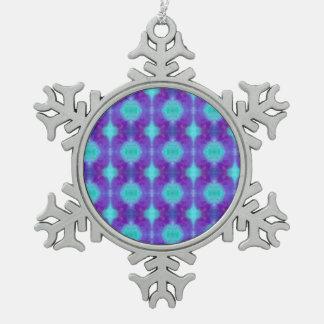 Aquarell-Muster Schneeflocken Zinn-Ornament
