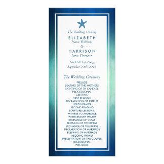 Aquarell-Ozeanstarfish-Strand-Hochzeits-Programm Karten Druck