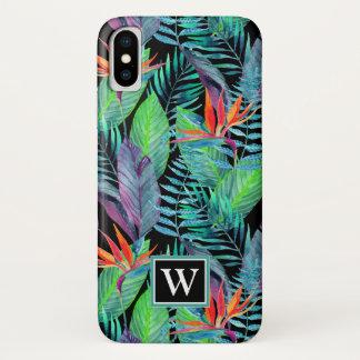 Aquarell-Paradiesvogel | addieren Ihre Initiale iPhone X Hülle