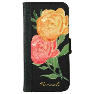Aquarell-Pfingstrosen iPhone 6 Geldbörsen-Kasten iPhone 6 Geldbeutel Hülle