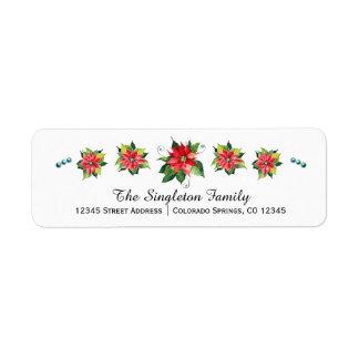 Aquarell-Poinsettia - Feiertags-Adressen-Etikett