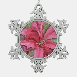 Aquarell-Poinsettia-Zinn-Schneeflocke-Verzierung Schneeflocken Zinn-Ornament