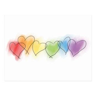 Aquarell-Regenbogen-Herzen Postkarte