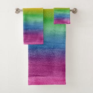 Aquarell-Regenbogen-Streifen Badhandtuch Set