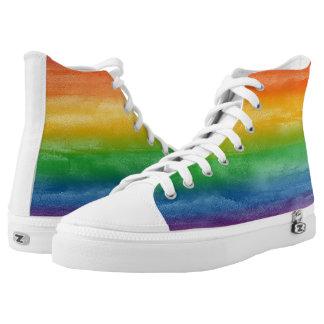 Aquarell-Regenbogen-Streifen Hoch-geschnittene Sneaker