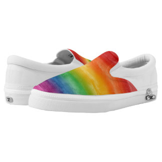 Aquarell-Regenbogen-Streifen Slip-On Sneaker