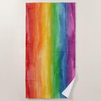 Aquarell-Regenbogen-Streifen Strandtuch