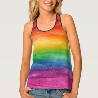 Aquarell-Regenbogen-Streifen Tanktop