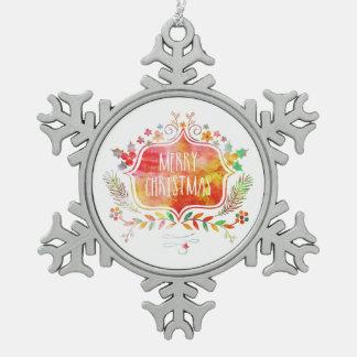 Aquarell-Retro frohe Weihnachten Schneeflocken Zinn-Ornament