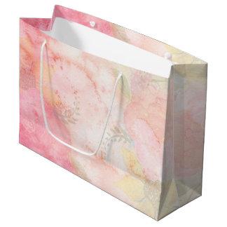 Aquarell-rosa Blumenhintergrund Große Geschenktüte