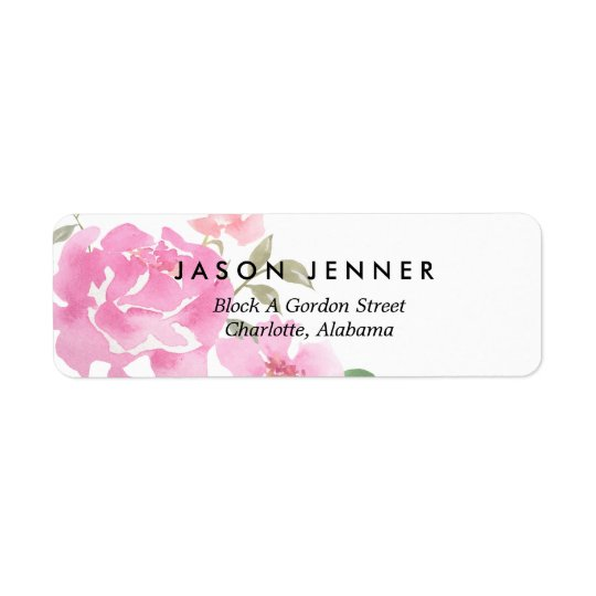 Aquarell-rosa mit Blumenpfingstrosen, die Chic Rückversand-Adressaufkleber