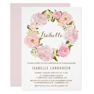Aquarell-rosa Pfingstrosen-Kranz-Taufe 12,7 X 17,8 Cm Einladungskarte