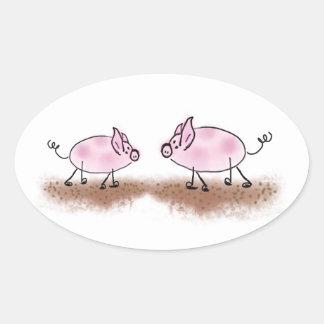 Aquarell rosa Piggies Ovaler Aufkleber