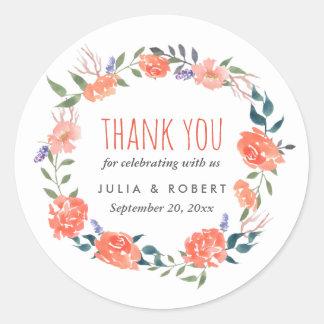Aquarell-roter BlumenKranz Wedding | danken Ihnen Runder Aufkleber
