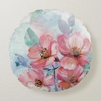 Aquarell-rundes Wurfs-mit Blumenkissen Rundes Kissen