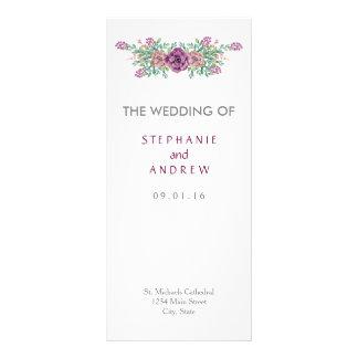 Aquarell-saftige Hochzeits-Programm-mit Bedruckte Werbekarte