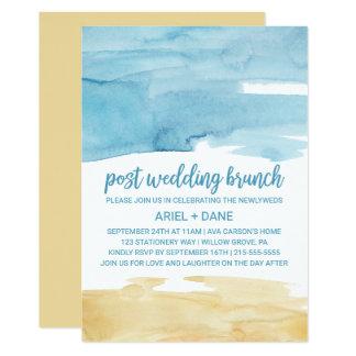 Aquarell-Sand-und Seeposten-Hochzeits-Brunch Karte