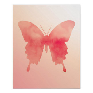 Aquarell-Schmetterling - Koralle und Pfirsich Poster