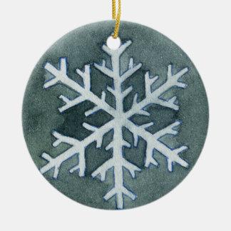 Aquarell-Schneeflocke-Verzierung Keramik Ornament