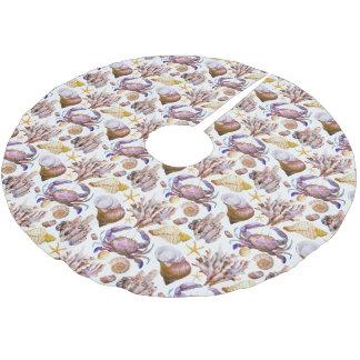 Aquarell-Seeleben-Muster 4 Polyester Weihnachtsbaumdecke